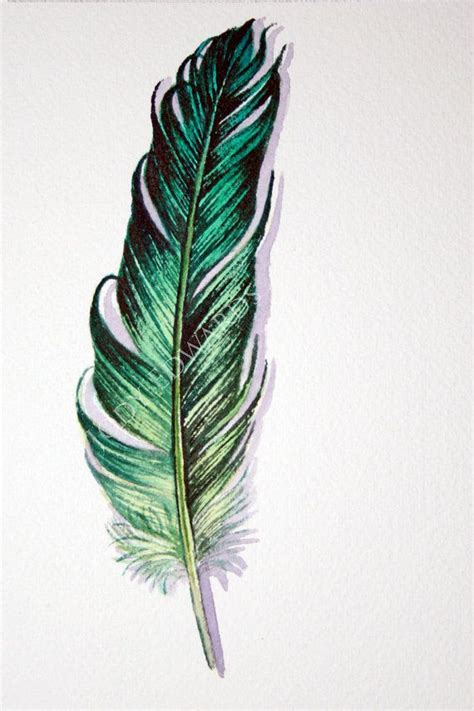 green feather original watercolor feather study tatouage