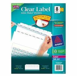 discount index maker clear label dividers with white tabs With clear label stock