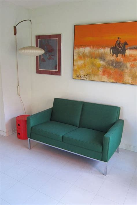 Office Settee Furniture by Vintage Green Steelcase Chrome Settee Sofa Furniture