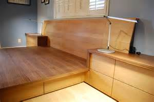 Bed Frame With Attached Nightstands by Pdf Plans Woodworking Platform Bed Download Diy