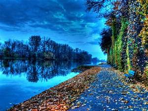 Riverside Bench During Autumn Nature Hd Wallpaper
