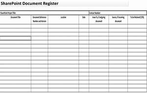 Document register form for Document register download