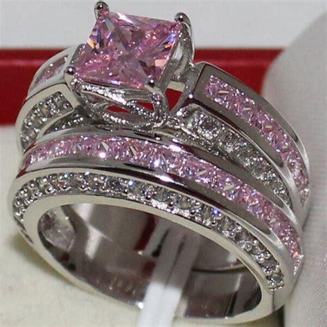 sz 6 11 eternity womens engagement pink sapphire no tarnish silver band ring ebay