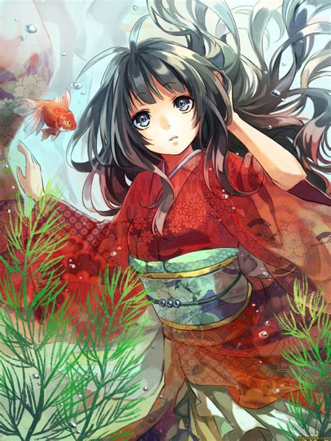 Anime Girl In Silk Yukata  Anime,art,beautiful Pictures