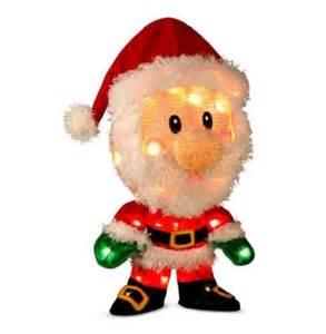 18 quot lighted pre lit 3d tinsel santa claus outdoor christmas yard art decoration ebay