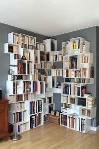 Grande Bibliothèque Murale : grande tag re d 39 angle blanche deco en 2019 ~ Teatrodelosmanantiales.com Idées de Décoration