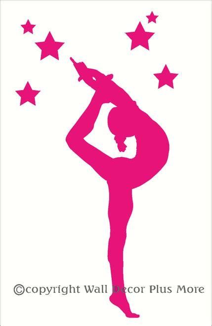 gymnast silhouette  stars girls wall sticker vinyl