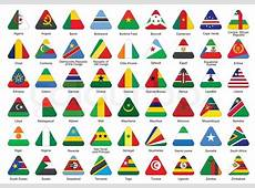 Set of triangle icons with African flags Stock Vector