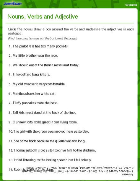 nouns verbs adjectives worksheet nouns verbs and adjectives worksheet download education world