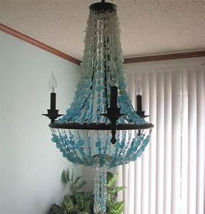 Sea glass lighting fixture chandelier coastal decor beach
