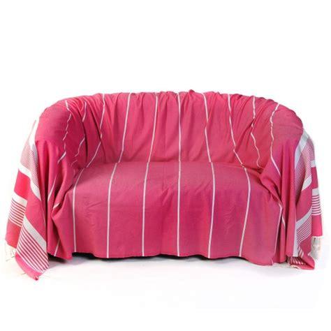 jeté pour canapé grand jeté de canapé 2x3m en coton deux couleurs fushia et