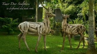 driftwood deer sculptures traditional garden statues and yard