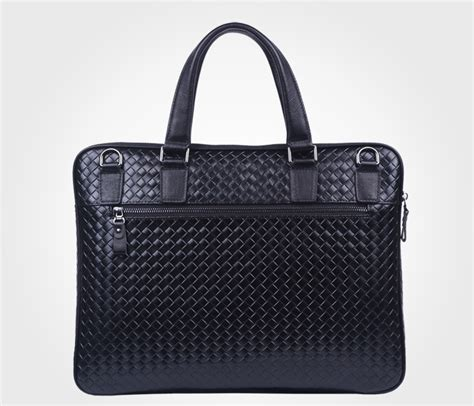 Woven Black Genuine Leather Mens High End Briefcase Pilaeo