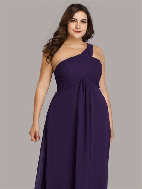 size  shoulder ruched purple long evening dress