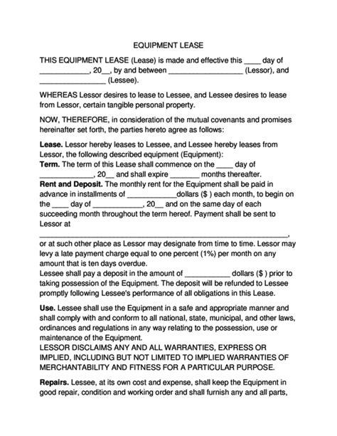 equipment lease agreement legalformsorg
