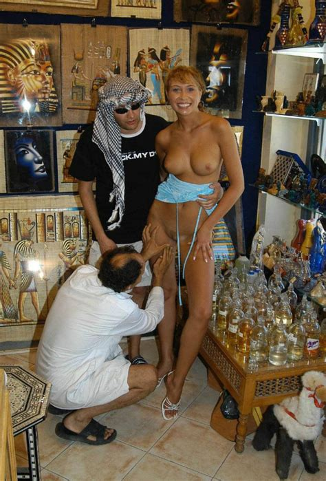 Russian slut allowed to touch her pussy to arab at shop in ...