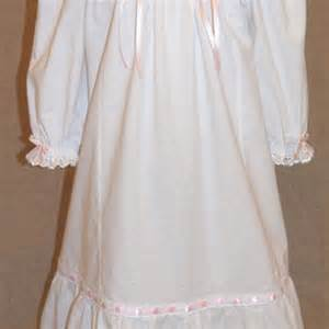 Girls Victorian White Nightgown Long Sleeves