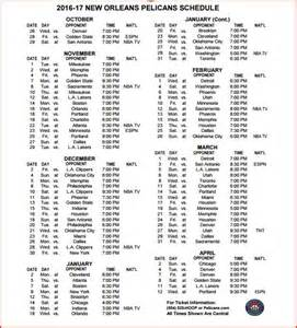 2016 New Orleans Pelicans Printable Schedule