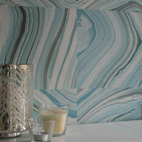 agate quartz marble effect wallpaper turquoise blue