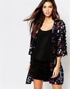 Oh My Love Iridescent Sequin Kimono Jacket - black - all black - new years - asos - outfit ...