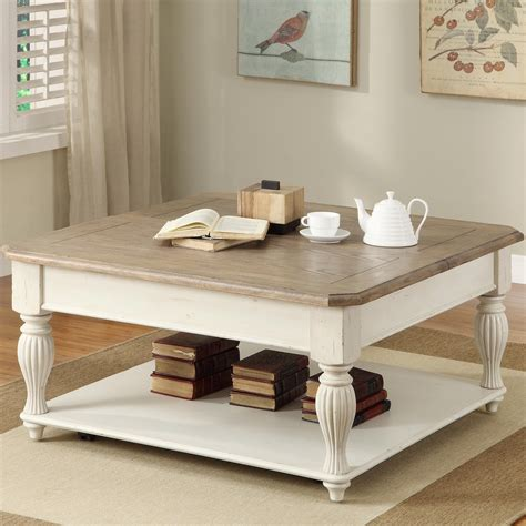 Square Lifttop Coffee Table With Fixed Bottom Shelf By