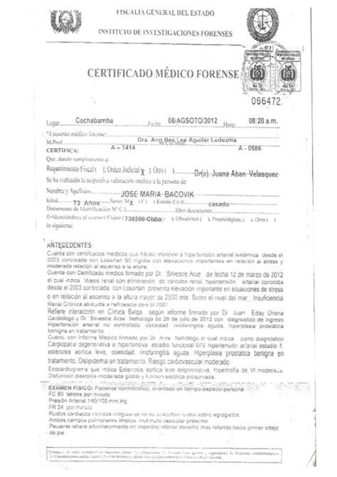 certificado medico forensejosemariabakovic