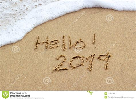 New Year 2019 Sign In Tropical Beach Sand Stock Image