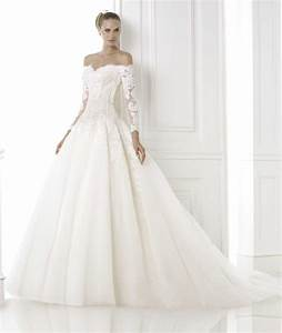 off the shoulder tulle ball gown long sleeve lace With off the shoulder wedding dresses lace