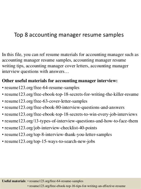 top 8 accounting manager resume sles