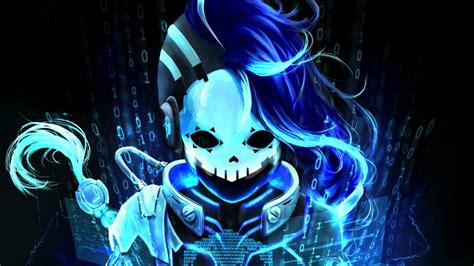 Desktop Wallpaper Cyberspace Sombra Overwatch Blue Hd