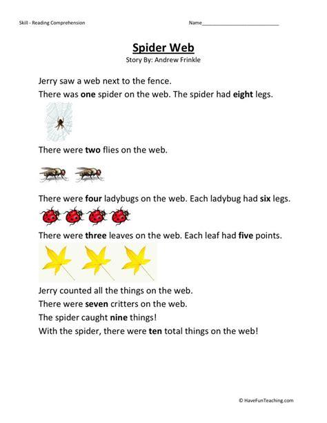reading comprehension worksheet spider web