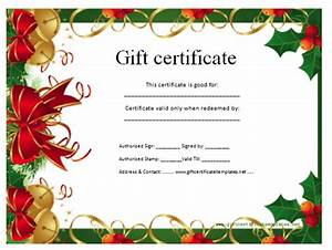 Christmas gift certificate template certificate templates for Free christmas gift certificate template