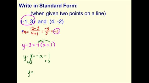 Write Standard Form (when Given Two Points) Youtube