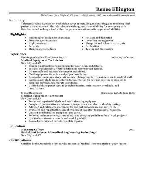 machine maintenance technician resume objective equipment technician resume exles installation repair resume sles livecareer