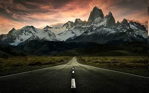 Nature, Landscape, Sunrise, Mountain, Clouds, Road, Snowy, Peak, Wallpapers, Hd, Desktop, And