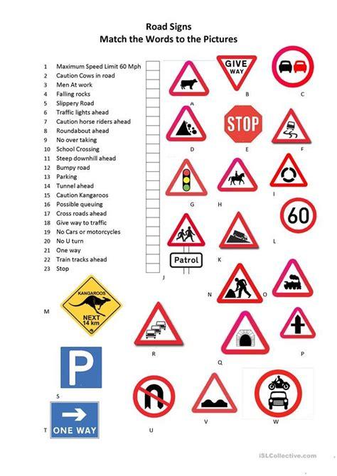 road signs worksheet  esl printable worksheets