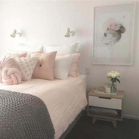 blue gray comforter blush pink white and grey pretty bedroom via ivoryandnoir