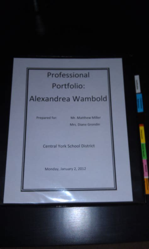 Professional Teaching Portfolio Template by Teaching Professional Portfolio Cover The Of