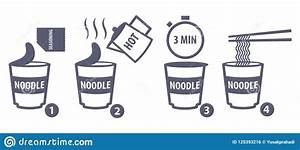 Instruction Guide How To Make Cup Noodle Stock Vector