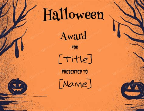 halloween award certificates  templates  microsoft word