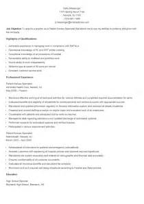 patient access resume template resume sles sle patient access specialist resume