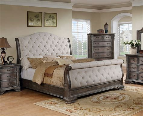 crown mark sheffield upholstered sleigh bed antique grey