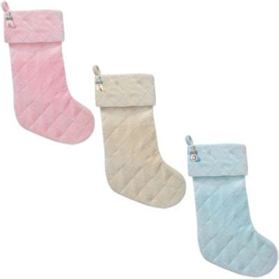 light blue christmas stockings quilted velvet christmas baby stocking with teddy charm in