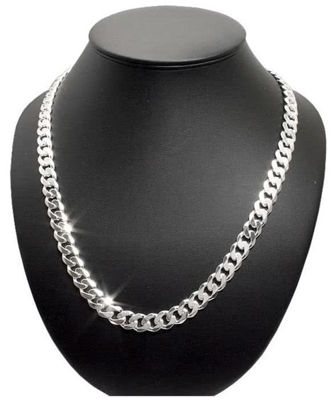 mens solid silver curb chain mm wide highly polished