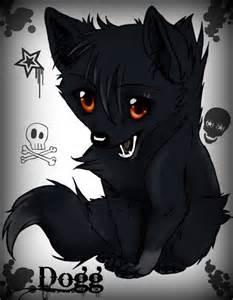 Black Anime Wolf Pup