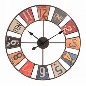 Horloge Murale Maison Du Monde : horloge en m tal multicolore d 60 cm american maisons du monde ~ Teatrodelosmanantiales.com Idées de Décoration