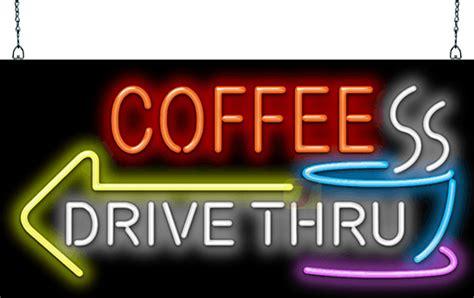 coffee drive   left arrow neon sign fc