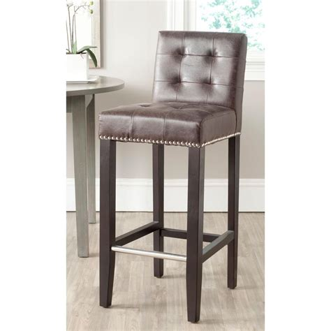 Safavieh Bar Stools by Safavieh Thompson 30 In Antique Brown Cushioned Bar Stool