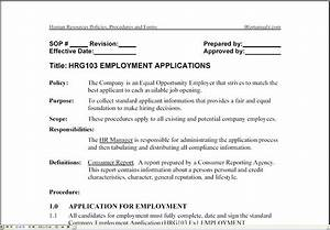 bizmanualz human resources policies procedures forms With hr sop template