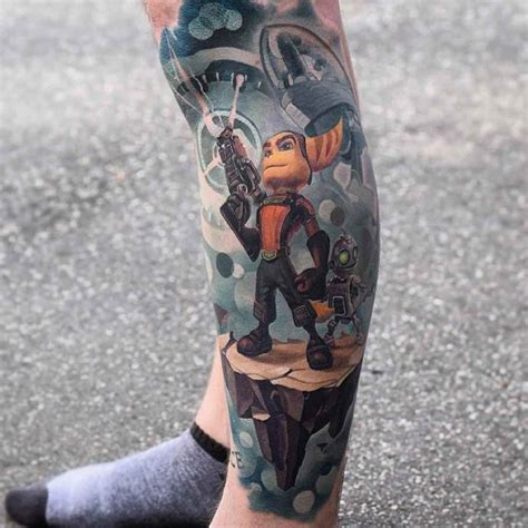 rachet  clank tattoo  leg  tattoo ideas gallery